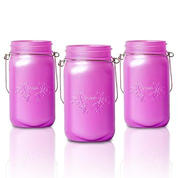 BLOWOUT (6-Pack) Fantado Wide Mouth Frosted Lavender Mason Jar w/ Handle, 32oz