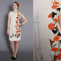 1960s Alfred Shaheen Shift DRESS / Vintage 60s Cotton Dress with Orange, Black and Metallic Gold Floral Print