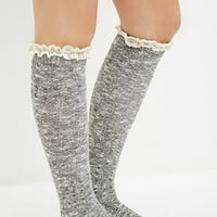 Crochet Trim Over-the-Knee Socks
