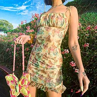 New fashion summer floral butterfly print straps dress women