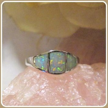"""""""Peace & Love"""" Angel White Fire Opal Sterling Silver Ring"""