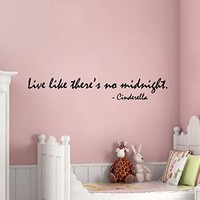 Wall Decals Vinyl Decal Sticker Home Design Cinderella Quote Live Like There Is No Midnight Kids Nursery Baby Room Girl Bedding Decor