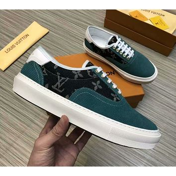 LV 2019 new style brand men's stitching printing low cut casual shoes green