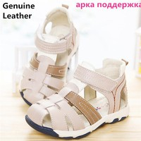 Super quality 1 pair genuine leather Boy  Children Sandals Orthopedic shoes, Kids/child's Summer Shoes