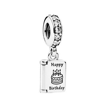 Women's PANDORA 'Happy Birthday' Cubic Zirconia Dangle Charm - Silver/ Clear