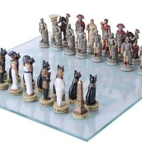 Rome vs Egypt | Romans and Egyptians Chess Set 3.75H, Assorted Colors