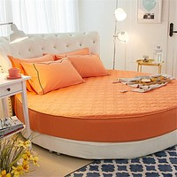 Solid Round Cotton Bed Mattress Protector