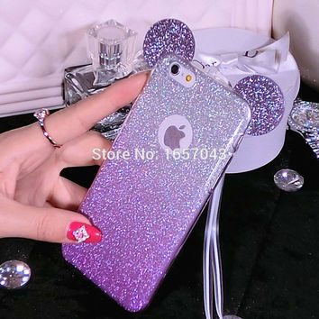 Fashion Bling Handbag Cover For iPhone 7 7Plus 6 6s Plus 5 5s SE Case Mickey Ears Glitter Cute Phone Cases