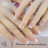 JQ New 24pcs/set False Nails French Nep nagels Fake Nails for Nail Art Design Nail Tips Faux Ongles Free Glue 94044