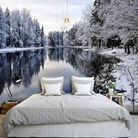 Photo Wallpaper 3D Snow Landscape Lake Nature Scenery Mural Wallpaper Living Room Bedroom Background Wall Covering Home Decor 3D