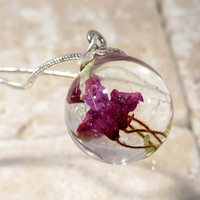 Heather Flower Necklace, Sphere pendant, plant jewelry, flower jewellery, nature
