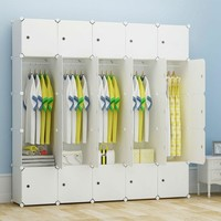 White Organizer For Inside Or Outside Closet With Hanging Section And Storage Cubes