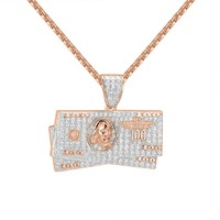 $100 Dollar Bill Note Iced Out 14k Rose Gold Finish Free Chain