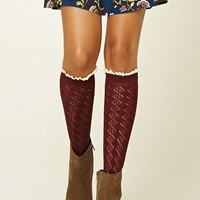 Crochet-Trimmed Knee-High Socks