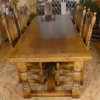 Canonbury - English Rustic Refectory Table & William Mary Chair Set