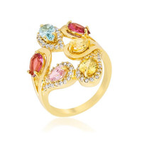 Multi-color Cocktail Ring, size : 09
