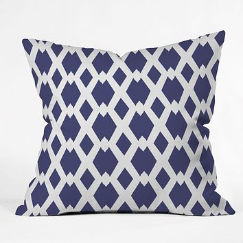 Lisa Argyropoulos Daffy Lattice Navy Outdoor Throw Pillow