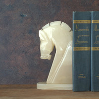 White Cut Stone Marble Knight Chess Piece Bookend