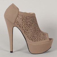 Qupid Confess-40 Perforated Peep Toe Platform Bootie