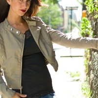 Born to Run Faux Leather Moto Jacket - Ecru from Glam at Lucky 21