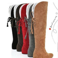 new arrival women snow boots fashion casual leather shoes with fur winter motorcycle knee high boots size 35-43 = 1931595972