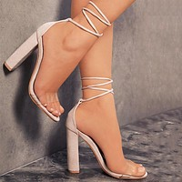 Women Rough Heel Sandals Transparent Bandage Heels Shoes