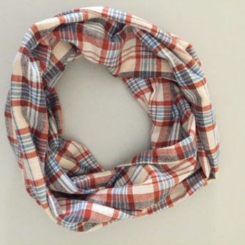 Plaid Infinity Scarf, Flannel Scarf, Winter Scarf, Loop Scarf, Womens Mens Scarf, Back to School