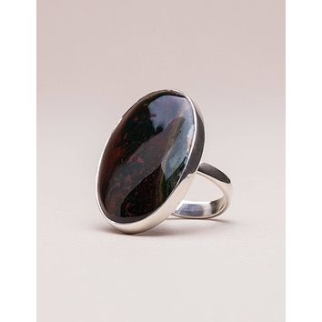 Bloodstone Gemstone Ring - Adjustable