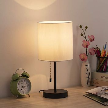 HAITRAL Table Lamp - Modern Bedside Desk Lamp with Pull Chain Fabric Lamp Shade Nightstand Lamp for Bedroom, Office, College Dorm Black / White