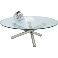 Vistana Coffee Table Brushed Stainless Base Tempered Glass Top