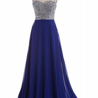 Sparkly Backless Royal Blue Prom Dresses