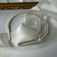 REAL freshwater ivory round pearl silver alice band tiara for wedding bridesmaid or flowergirl