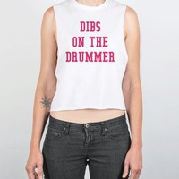 DIBS ON THE DRUMMER Chopped Tank Pink Art ID961137-White Tank