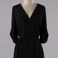 Black Tunic Top with Belt