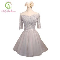 New Banquet Elegant Cocktail Dress The Half Sleeves Off The Shoulder A-line Mini Prom Party Dress