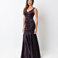 1930s Style Eggplant Ruched Tank Rose Gown 2015 Prom Dresses