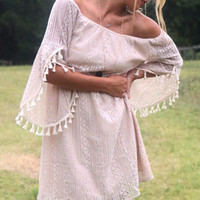 Oh So So Boho Tan Crochet Lace Dress