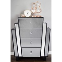 """Dresser with Mirror - 27"""" X 12"""" X 32"""" Grey w/ Grey Washed Water Hyacinth MDF, Wood, Mirrored Glass Accent Cabinet with Drawers"""