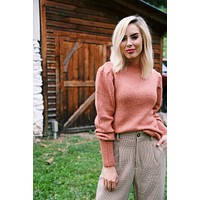 Carraway Puff Sleeve Sweater, Terra Cotta