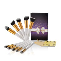 USpicy Cosmetics Brushes, 10-Piece Professional Makeup Brush Set with Gift Box (White)