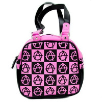 Black and Pink Anarchy Sign Punk Handbag Purse