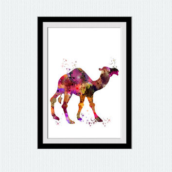 Camel watercolor print Camel art poster Animal multicolor decor Safari animal print Home decoration Kids room art Nursery room decor W584