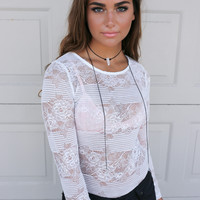 High Hopes White Lace Long Sleeve Bodysuit
