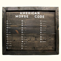 American Morse Code Rustic Reclaimed Wood Sign - Historical Wooden Wall Art - Original Morse Code Chart Handpainted on Weathered Pallet Wood