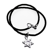 Jewish Star Sterling Silver Leather Necklace