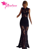 Dear Lover Black Red White Floral Lace Hollow Maxi Dress women elegant gowns LC60066