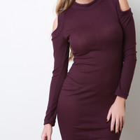 Rib Knit Open Shoulder Long Sleeve Dress