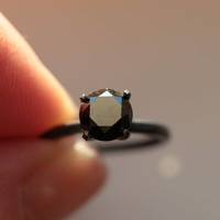 Custom 17 CTW Black Diamond Engagement Ring in by TheFlyingFoxArts