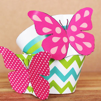 Printable 3d Patterned Butterfly Cupcake Wrapper and Topper Set – aqua blue , lime green , and bright pink butterflies INSTANT DOWNLOAD