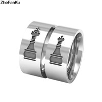 King Queen Chess pattern Titanium Steel Men Women Couple Rings For Valentine's Day Gifts Hollow Rings